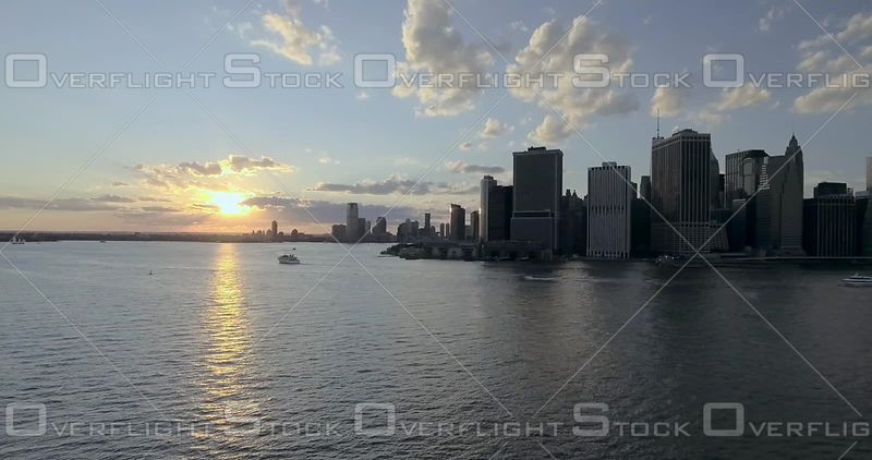 East River Lower Manhattan at Sunset New York