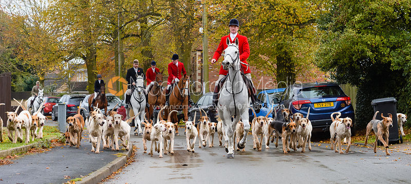 Chris Edwards, Andrew Osborne leaving the meet. The Cottesmore Hunt at Braunston