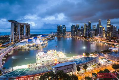 Elevated view of Marina Bay at dusk, Singapore