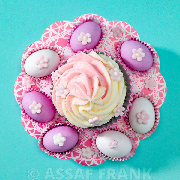 Beautifully decorated cupcake with easter eggs
