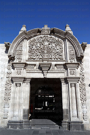 Stone carving over doorway of Casa Tristan de Pozo , Arequipa , Peru