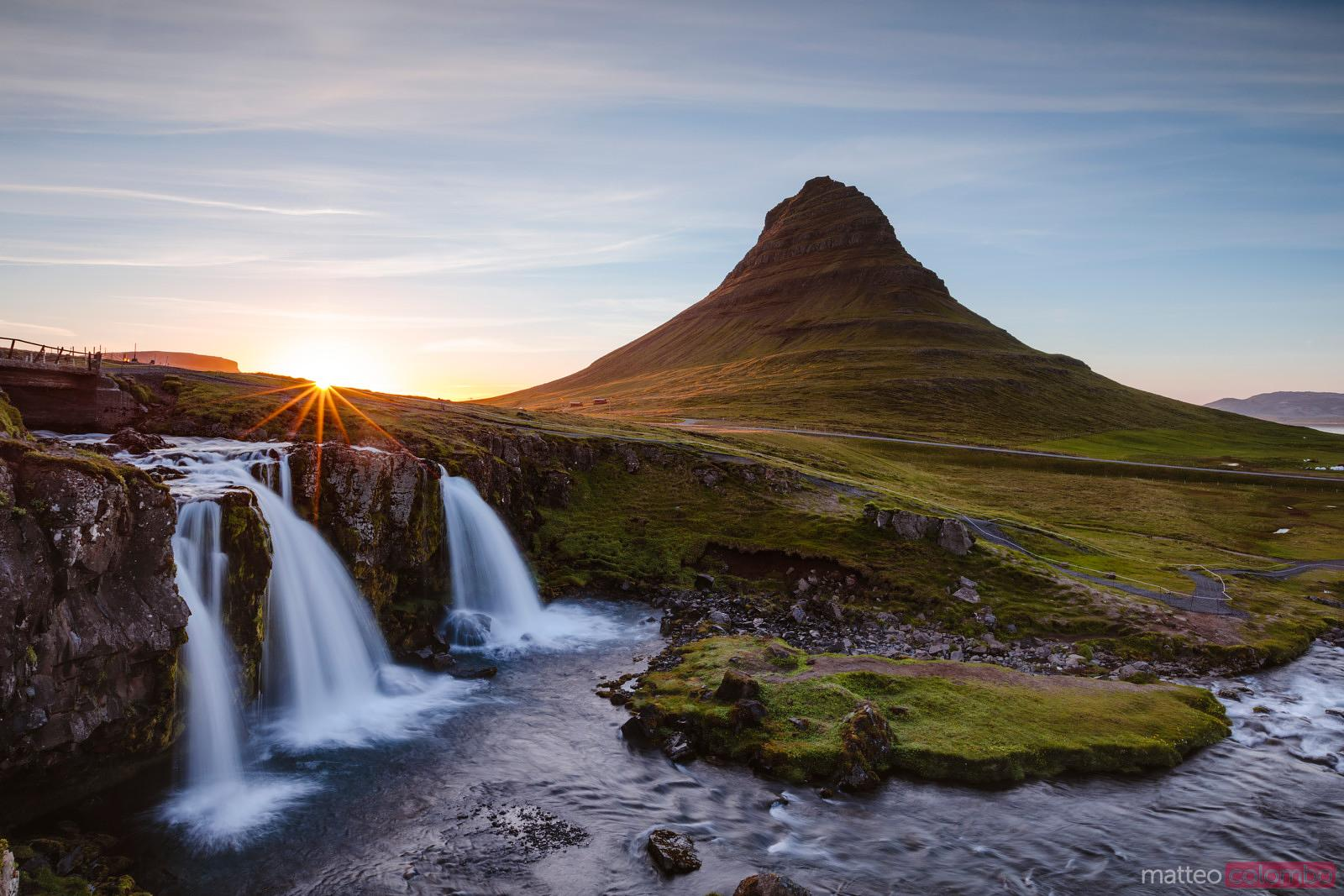Mount Kirkjufell and waterfalls at sunset, Snaefellsnes, Iceland