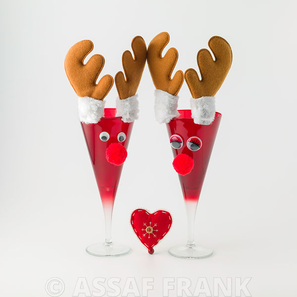 Reindeer glasses on white background
