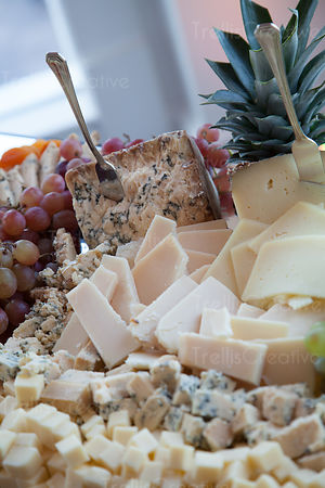 Fruits and cheese plate close-up