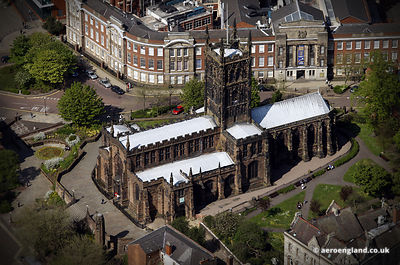 aerial photograph of St. Peter's Collegiate Church.Wolverhampton West Midlands   UK