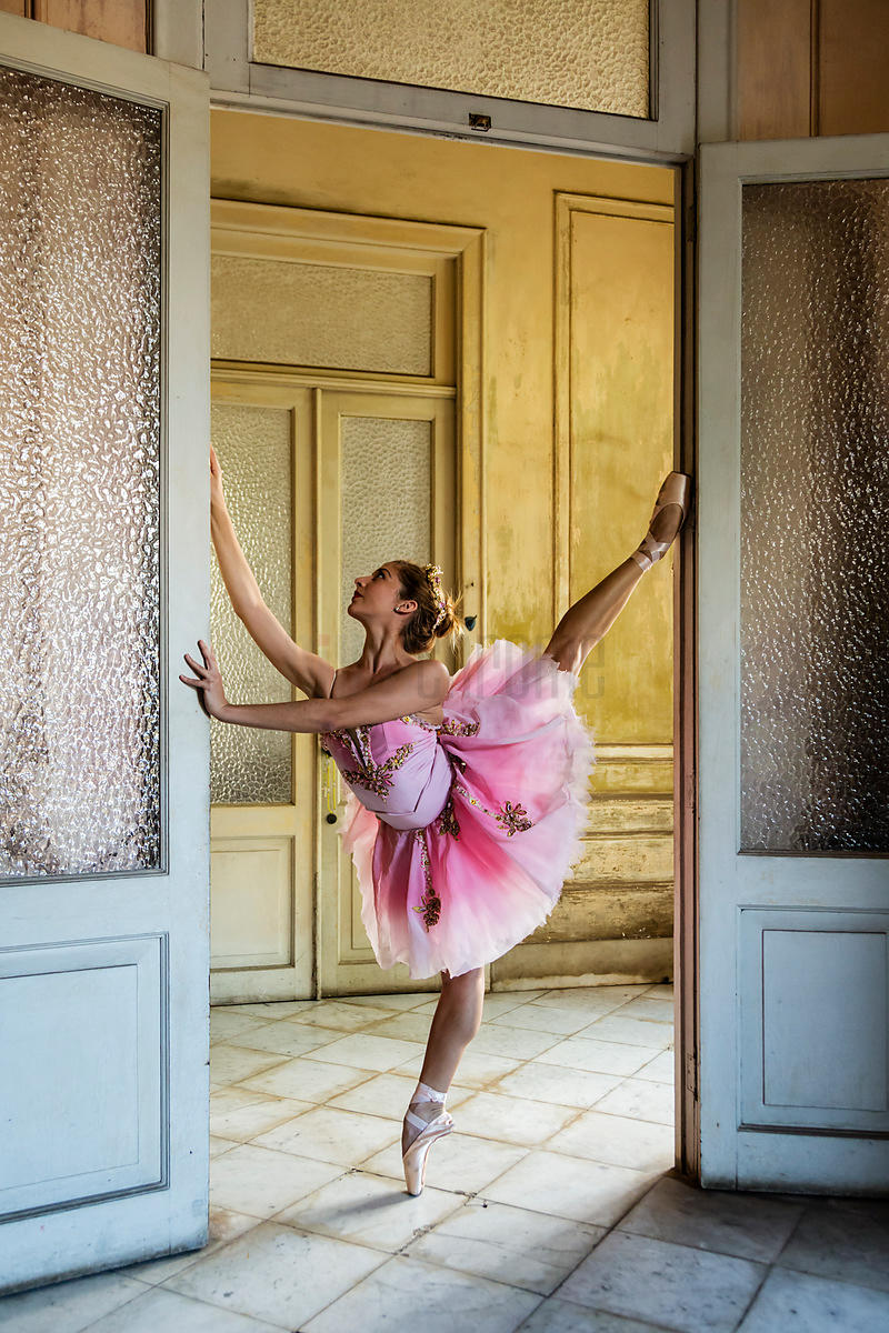 Ballerina Exercising in Vintage Mansion