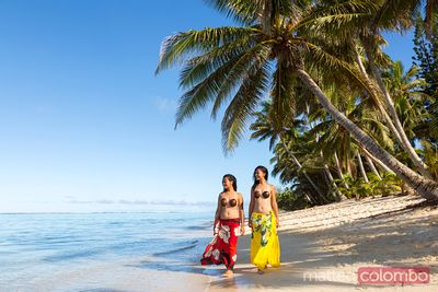 Local polynesian girls on the beach, Rarotonga, Cook Islands (MR)