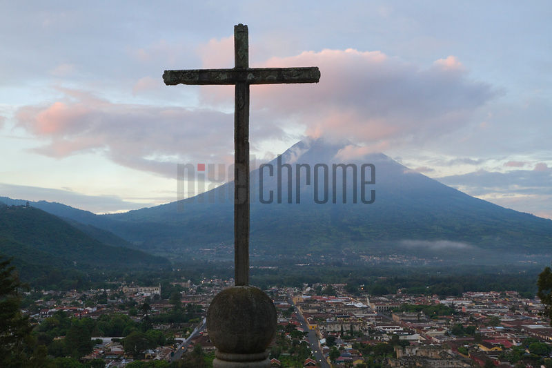 Cross and Volcan de Agua View From Cerro de la Cruz, Antigua, Sacatepequez Department, Guatemala