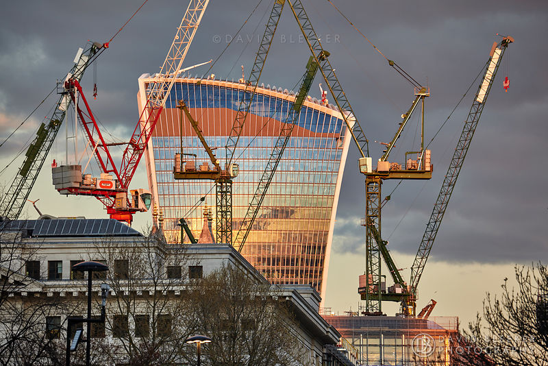 Construction cranes in front of 20 Fenchurch street London