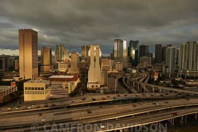 Aerial photograph of downtown Miami late in the afternoon.