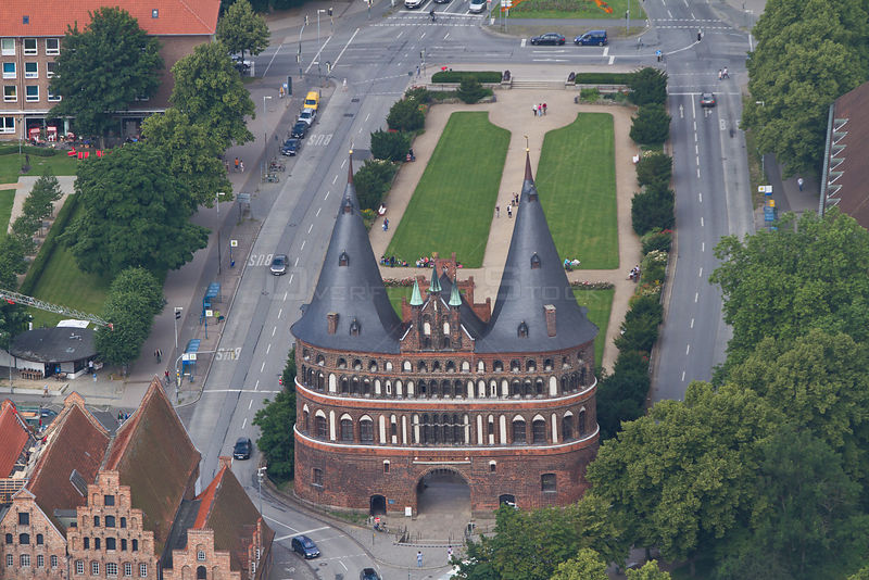Aerial view of Holstentor, Lubeck, Schleswig-Holstein, Germany, July 2012