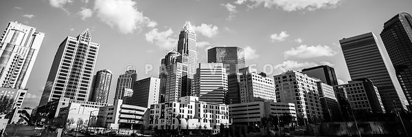 Black and White Panorama Photo of Charlotte Skyline