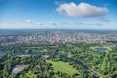Aerial view of London Hyde Park, The Serpentine