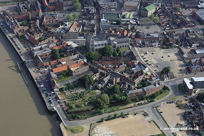 aerial photograph of King's Lynn Minster Norfolk England UK.