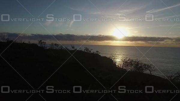 Headland silhoutte at sunrise Noosa Australia