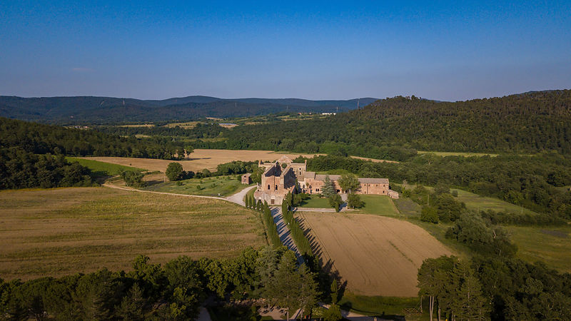 Aerial View of San Galgano Abbey in Tuscany, Italy