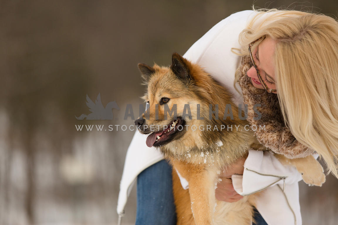 owner hugging dog