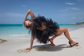 Bodyart dancer Stephanie Mas in Tutus at Leeward area beach, Providenciales, Provo, Turks & Caicos Islands