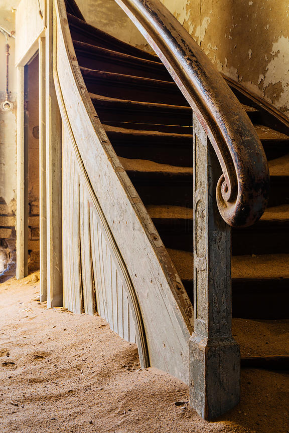 Newell Post of Staircase in Abandoned Building