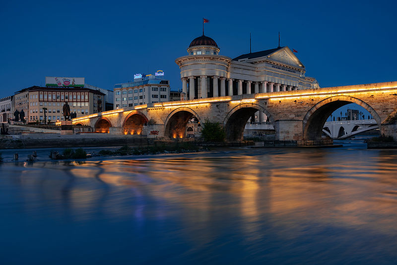 Blue Hour at the Stone Bridge across the Vardar River