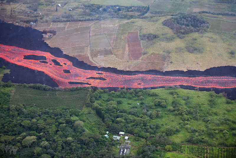 Aerial view of lava river flowing toward Kapoho, Puna District from fissure 8 of Kilauea volcano, near Pahoa, Hawaii.