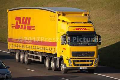 DHL delivery truck on the motorway