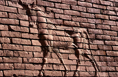 Iraq - Babylon - Details of a mystical creature on a wall