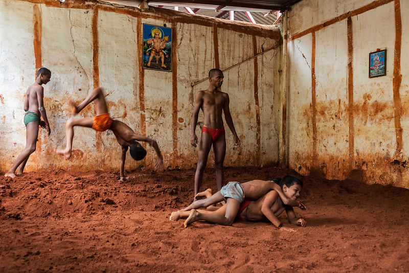 Kusti Wrestlers Practice their craft at their Akhara (Gym)