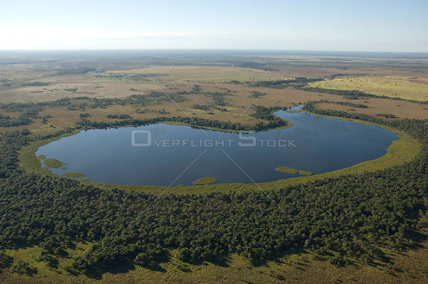 Aerial view of a lagoon near the Araguaia River, Cerrado region, Mato Grosso State, Central Brazil.