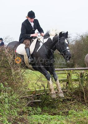 Adam Kirby jumping near the new Jubilee Covert - Cottesmore Hunt at Deane Bank Farm 4/12/12