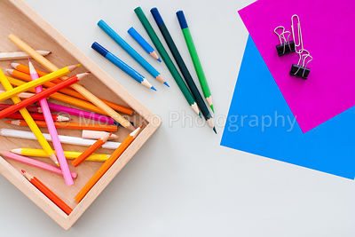 colourful pencils from above