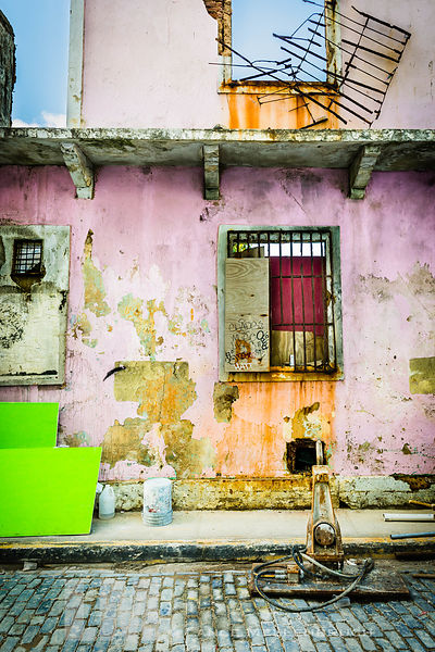 Colorful deteriorated building in Old San Juan, Puerto Rico