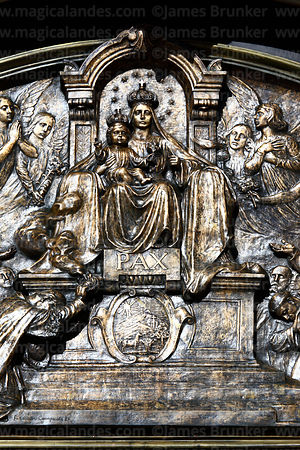 Detail of bronze relief of Our Lady of Peace / Nuestra Señora de La Paz on tympanum above main entrance of cathedral, La Paz,...