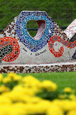 Detail of ceramic mosaic wall in Parque del Amor / Park of Love, Miraflores, Lima, Peru