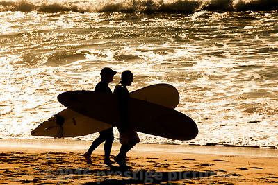 Surfers Walk Along Manly Beach
