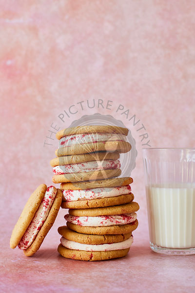 Orange and Raspberry Shortbread sandwich biscuits