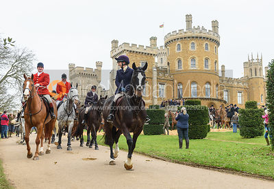 leaving the meet - The South Shropshire and Belvoir Hunts at Belvoir Castle 11/3/17