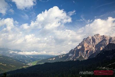 Val Badia and mountain peaks in summer Dolomites Italy