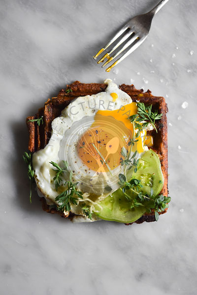 Runny Yolk Egg on Sweet Potato Waffle