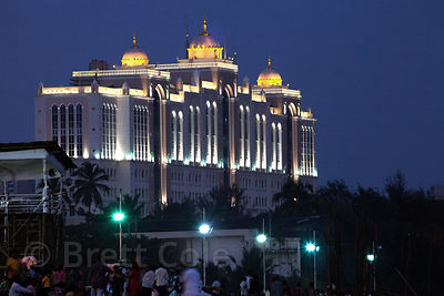Saifee Hospital in Mumbai, India is illuminated after dusk. As seen from Chowpatty Beach.
