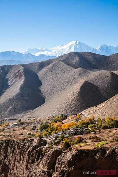 Village and valley, Upper Mustang region, Nepal