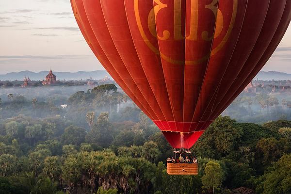 Aerial View of a Hot Air Balloon over the Pagoda Field at Bagan