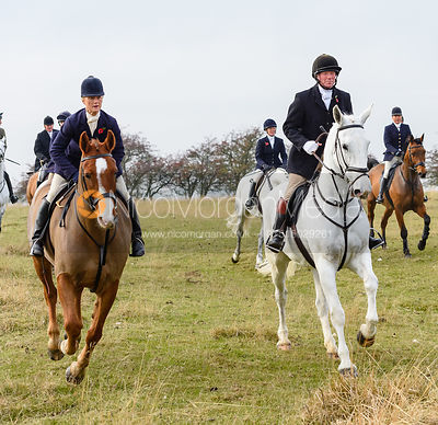 Annabel Bealby, Dick Wise above Braunston. The Cottesmore Hunt at Braunston