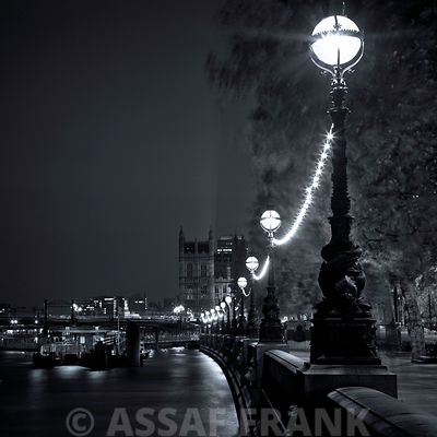 Street lamps, River Thames, London