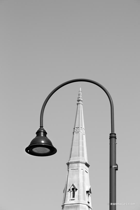 STREET LAMP AND STEEPLE BURLINGTON VERMONT BLACK AND WHITE